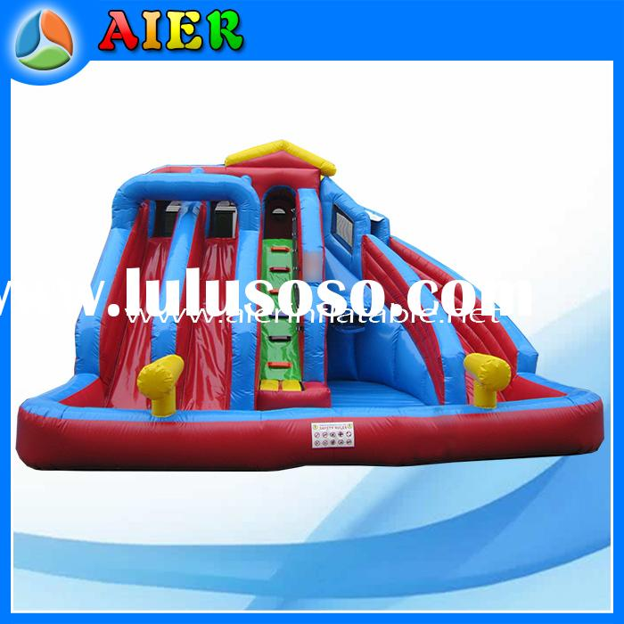 Commercial kids play water gun games inflatable wading pool with water slide
