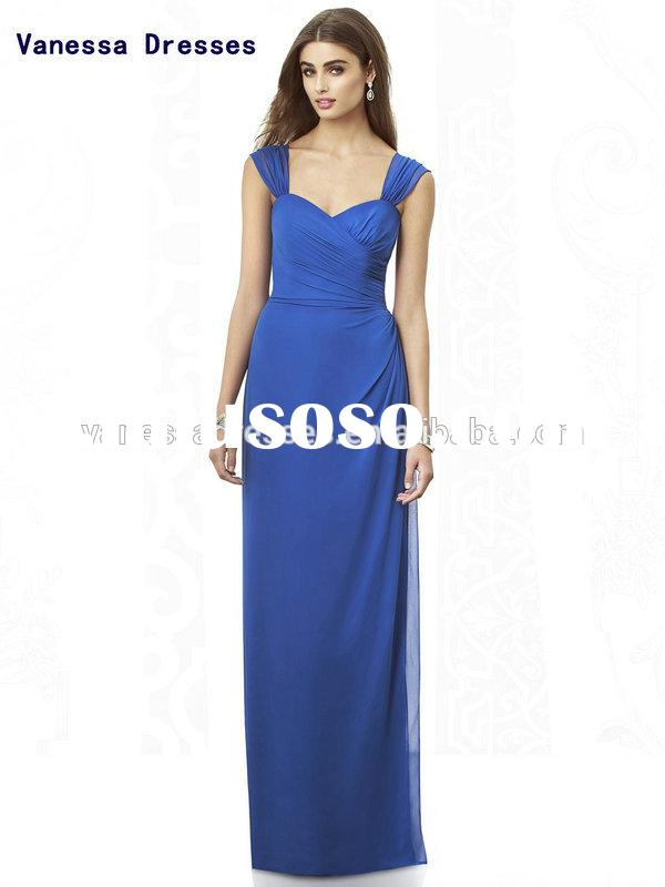 Custom Made Elegant Pleated Cheap Royal Blue Bridesmaid Dress