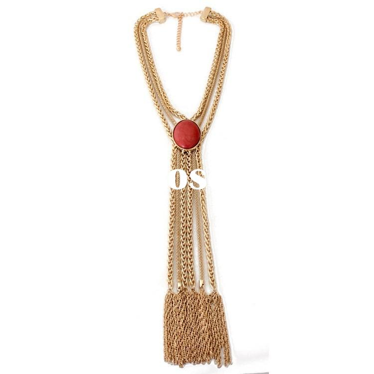 Dubai gold chain long tassel rosary necklace for women natural stone jewellery