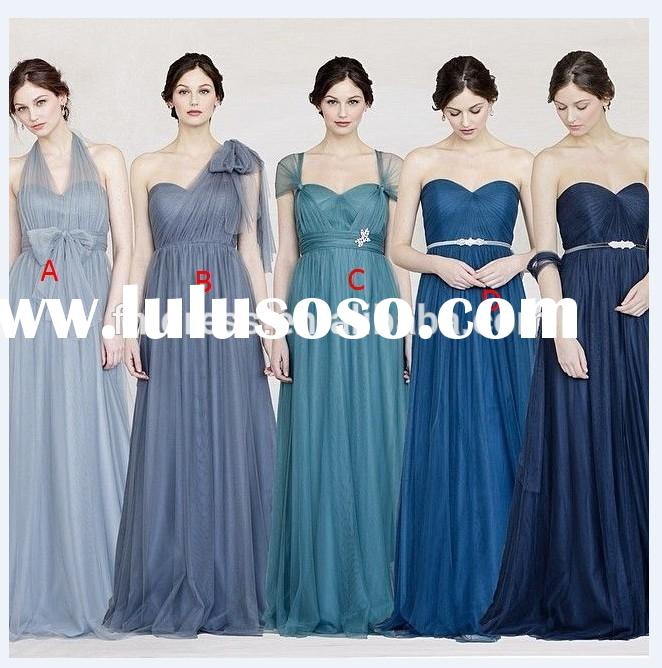 Free Shipping 2015 Elegant Royal Blue A-Line Chiffon Long Bridesmaid Dresses 4 Style Cheap Women Bri