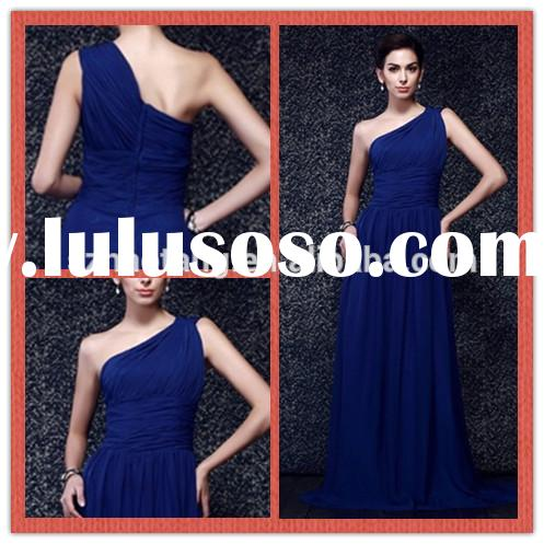 HT337 Elegant one shoulder royal blue bridesmaid dress long chiffon bridesmaid dresses cheap
