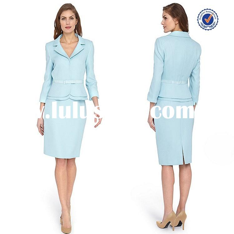 Long sleeve mid length jackets ribbon tie belted waist pencil skirt pictures of business suit for wo