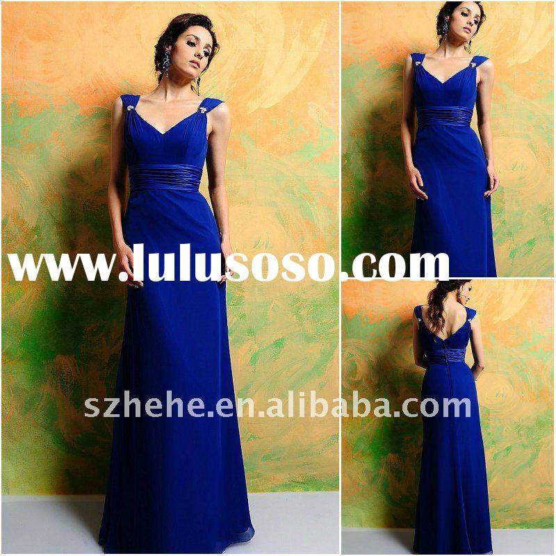 New design hot sell cheap price floor length royal blue bridesmaid dresses