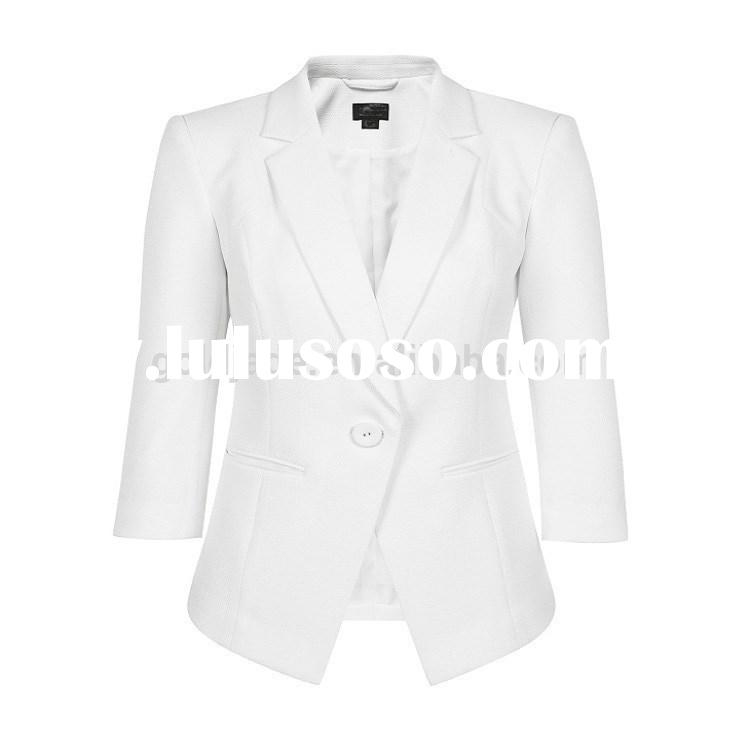 Newest design lady suit ,high qualiy business suit tuxedo for women ,3/4 sleeve suit fabric for whol