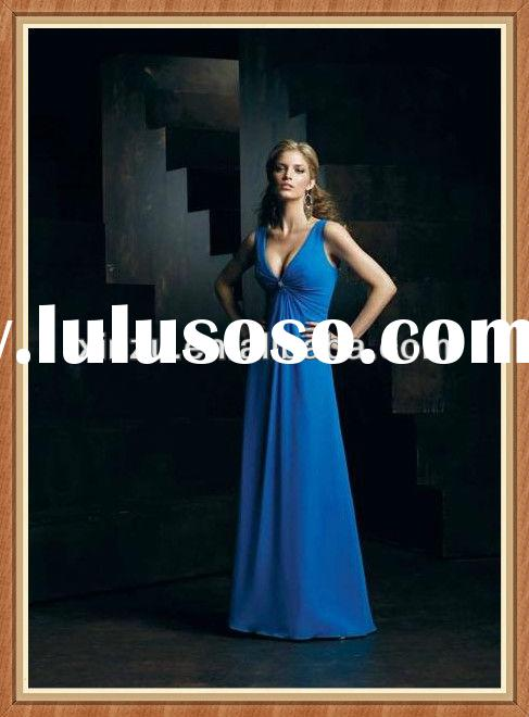 Ravishingly v neck cheap high quality royal blue bridesmaid dresses