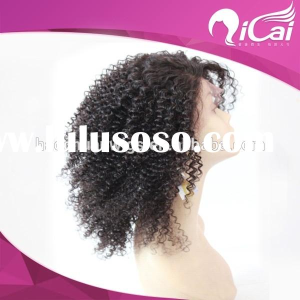 Short Curly Wigs For Black Women, Malaysian Human Hair Kinky Curly Full Lace Wigs