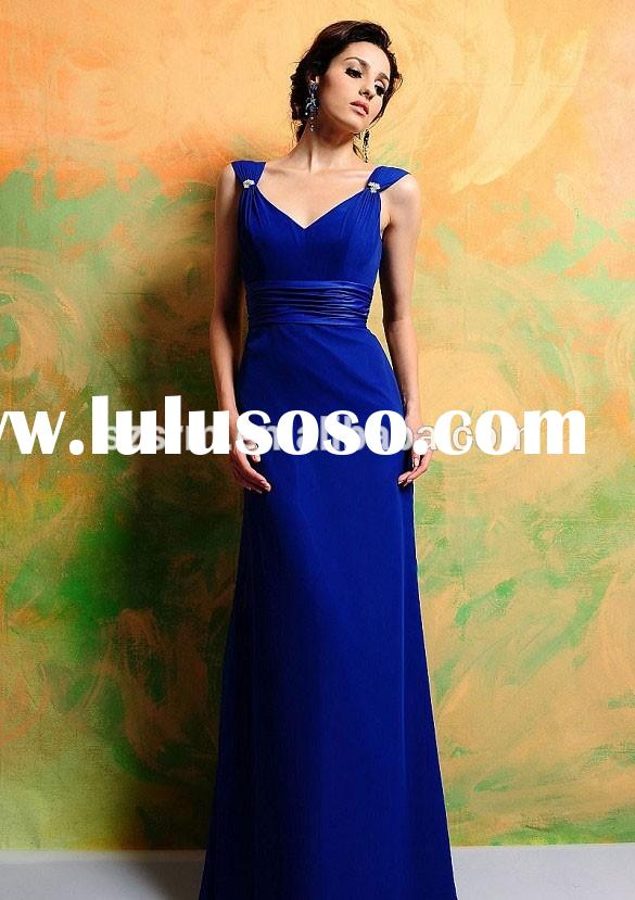 Wedding Party Evening Dress Chiffon Spaghetti Straps With Sashes Cheap Royal Blue Bridesmaid Dress