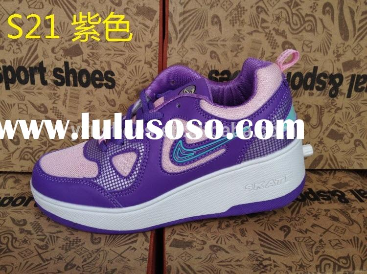 fashion purple girls roller shoes skate with retractable wheels good quality, children sport roller
