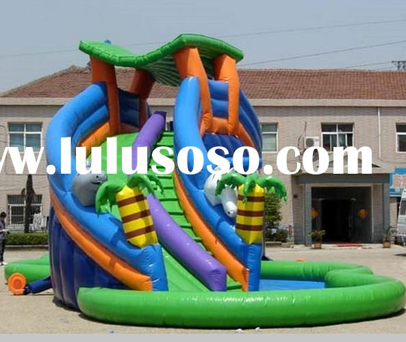 inflatable funny slide with pool / giant kids inflatable water slide / wet slide