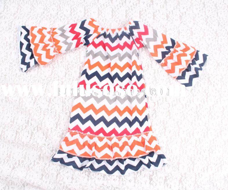 latest design!boutique chevron frock for kids long sleeve cotton casual trendy dress for halloween