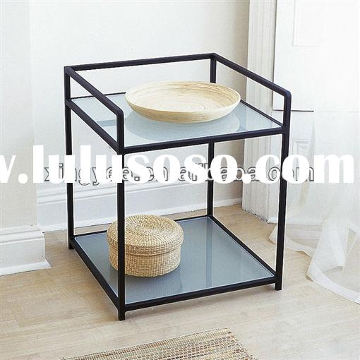 modern living hotel room bedroom metal frame tempered glass small square sofa bed side nightstands c