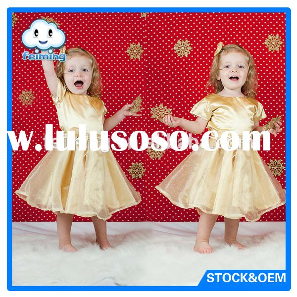 short sleeve high quality soft cotton ruffles baby girls' cute lovely fashionable dresses