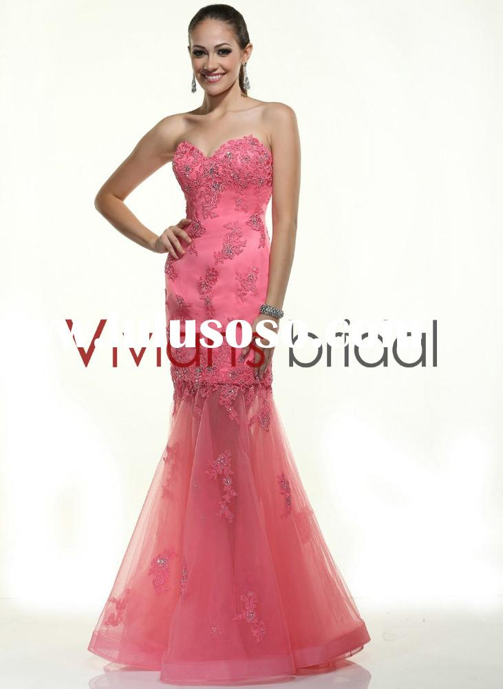 2015 Sweetheart Appliqued Beaded Latest Design Formal Evening Gown GS023
