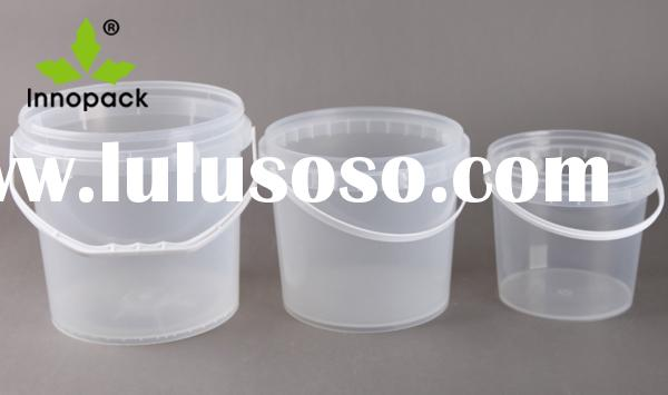 2L/2.5L/4L white PP small plastic pails with lid, plastic bucket with handle, plastic container whol