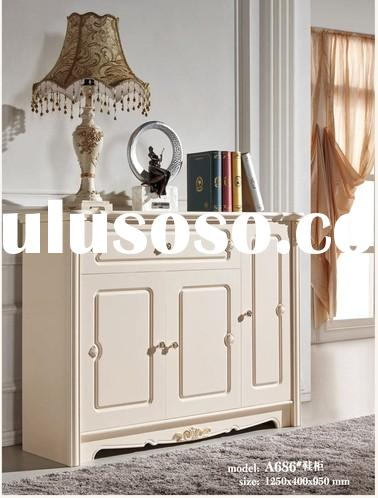 A686 antique traditional wooden living room shoe cabinets shoe racks luxury european style villa fur