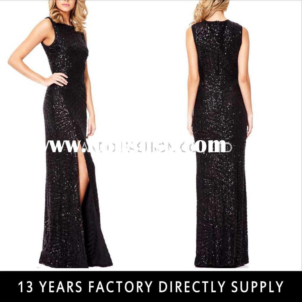 Black Sequin Embroidery Maxi Dress Ladies Long Evening Party Wear Gown