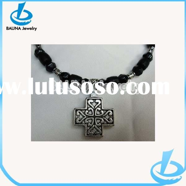 Black Beaded Choker jewelry Chunky Antique Silver mens cross necklace