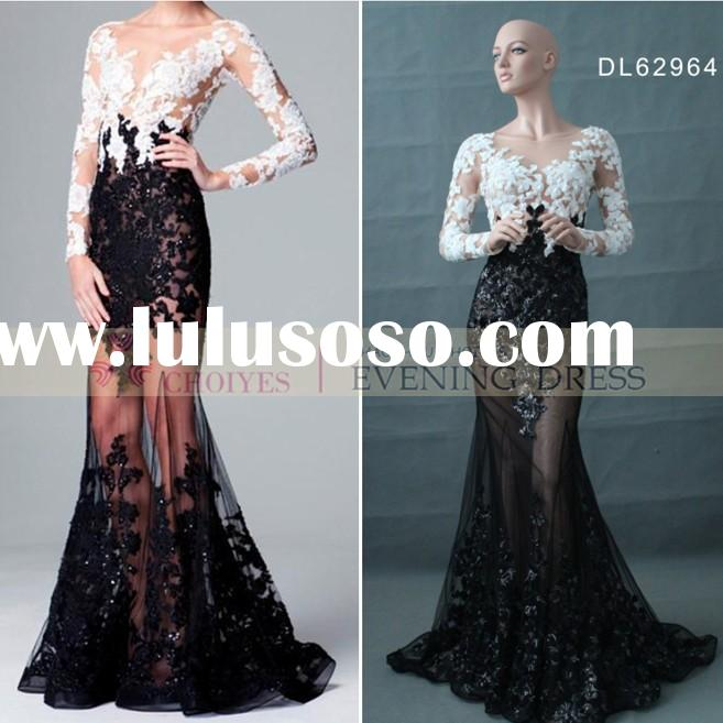 DL62964 black white long sleeve lace evening gown made in China
