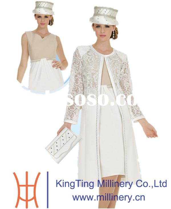 Fancy Elegant White Women Church / Wedding Suit And Hat Wholesale