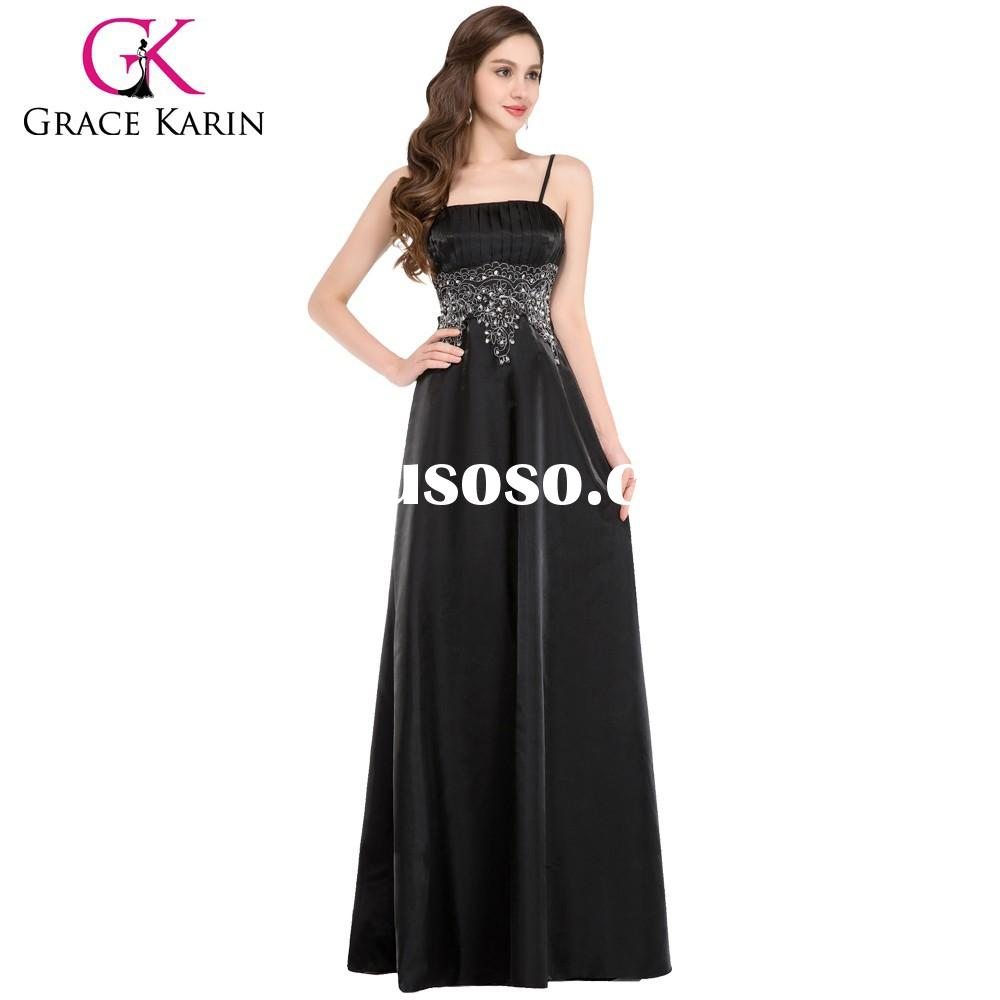 Grace Karin 2015 New Model Stock Spaghetti Straps Satin Long Black Evening Gown CL4974-1#