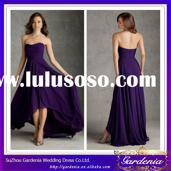 High Quality Beautiful Sheath Sweetheart Zipper Back Pleated Bodice Chiffon Tea Length Purple Brides