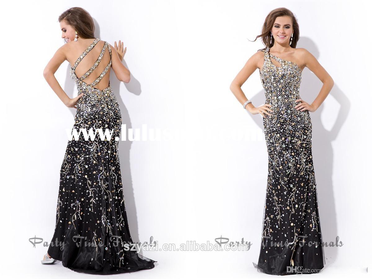 MZ-026 Attractive Black Evening Gowns Crystal Beads One Shoulder Floor Length Long Evening gowns