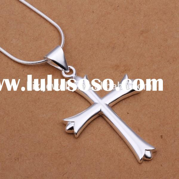 Personalized Sterling Silver Plating Cross Shape Pendant Necklace Jewelry For Men