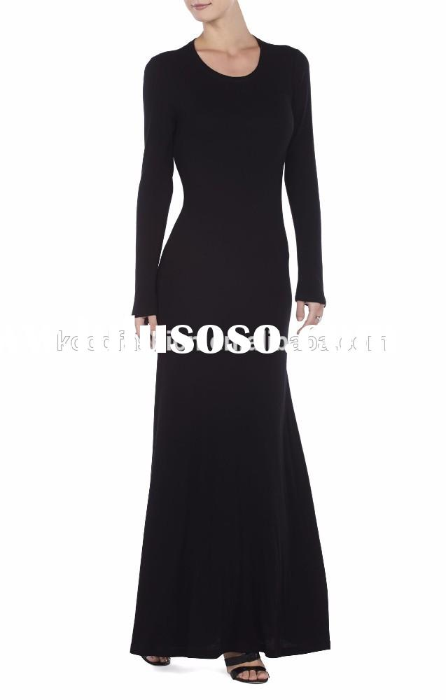 long sleeve lace evening gown with lace V back, black tight waist maxi evening dress with round neck