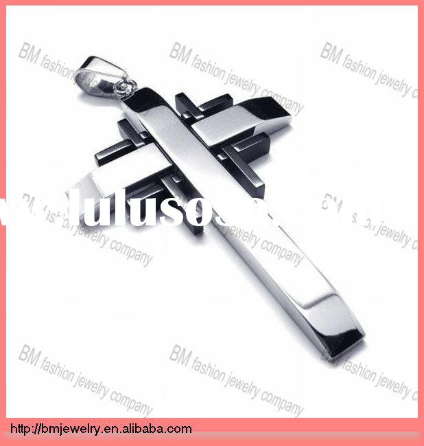 men black silver pure cross stainless steel necklace pendant for men jewelry