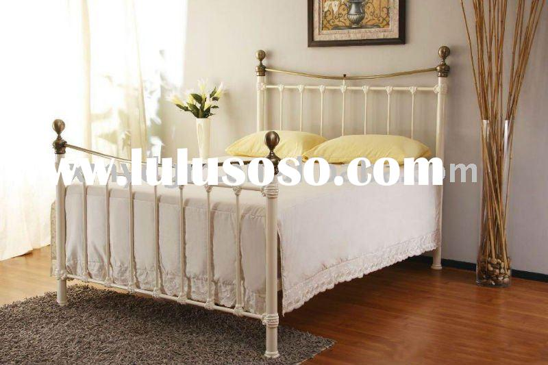 white brass queen size bed metal bed frame (ML-088)