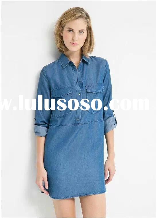 2015 Fashion Ladies High quality New Womens 100% Cotton china alibaba Lastest Designs Denim Dress sh