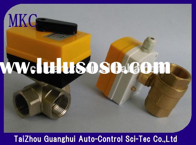 3 way brass mini electric ball valve with actuator for HVAC