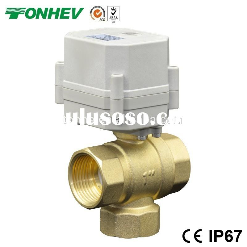 3- way 1'' brass vertical T type electric water ball valve for HVAC systems