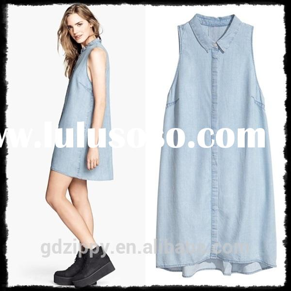Ladies Sleeveless Blue Denim Shirt Denim Dress Women