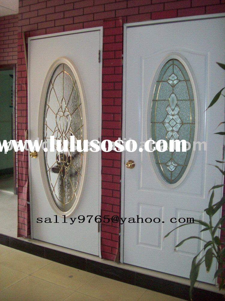 entry steel door with glass(double layer tempered glass)