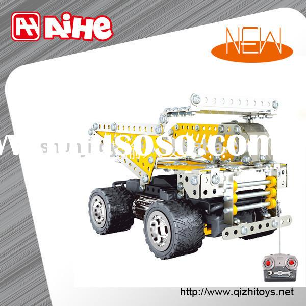 Metal battery operated construction car toys electronic toy brick hot diy toy