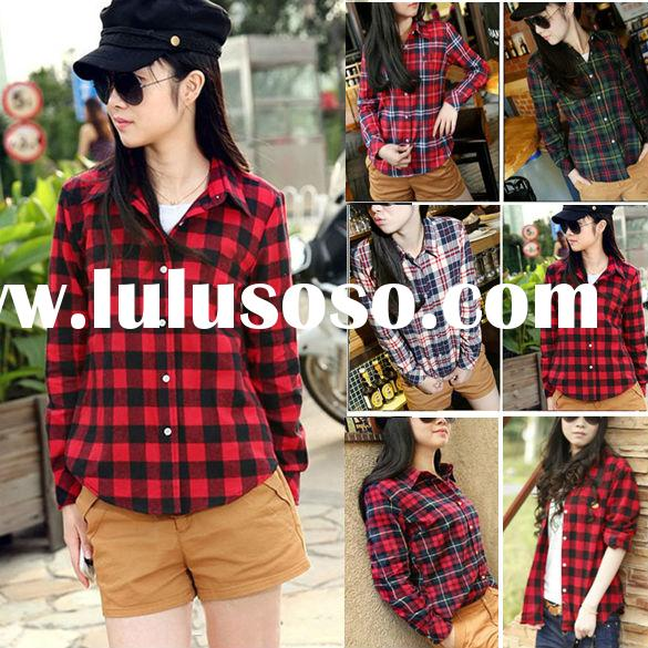New Button Cotton Casual Lapel long sleeve plaid shirt for women fashion Top Blouse
