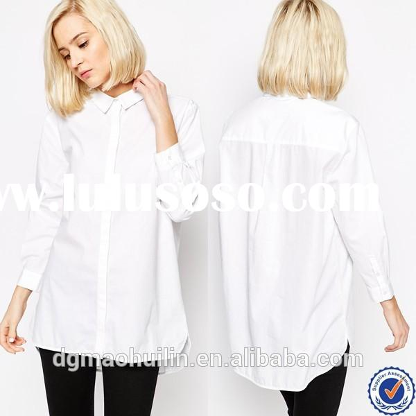 china wholesale huilin apparel custom fashion women clothing long cotton shirts for girls white wome