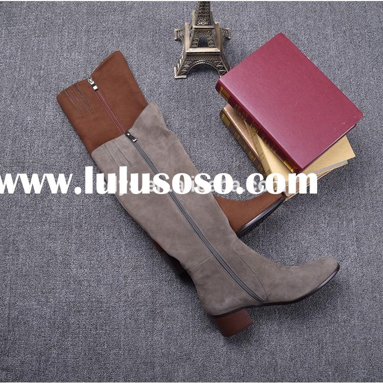 New 2015 Folding Knee High Women Boots Designer Leather Winter Warm Boots For Women Fashion Women Sh