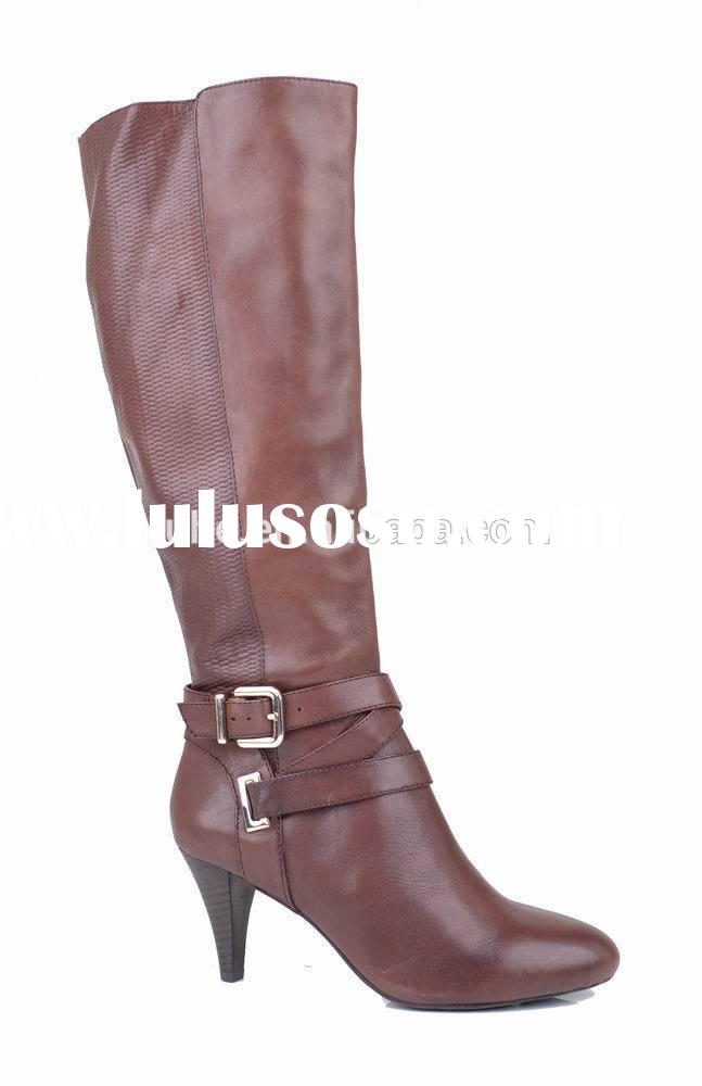 New arrival 2015 fashion warm pointed heel genuine leather knee high boots women