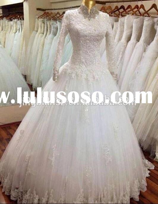 Real sample high neck long sleeves lace muslim wedding dress #OW10