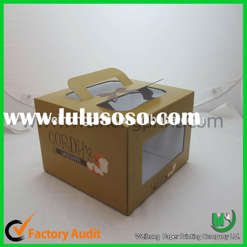 attractive cheap small folding paper cake box with handle custom made by Gongguan