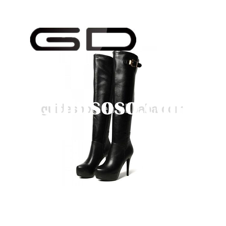 black leather 2015 hot sell knee boot high quality women leather boot