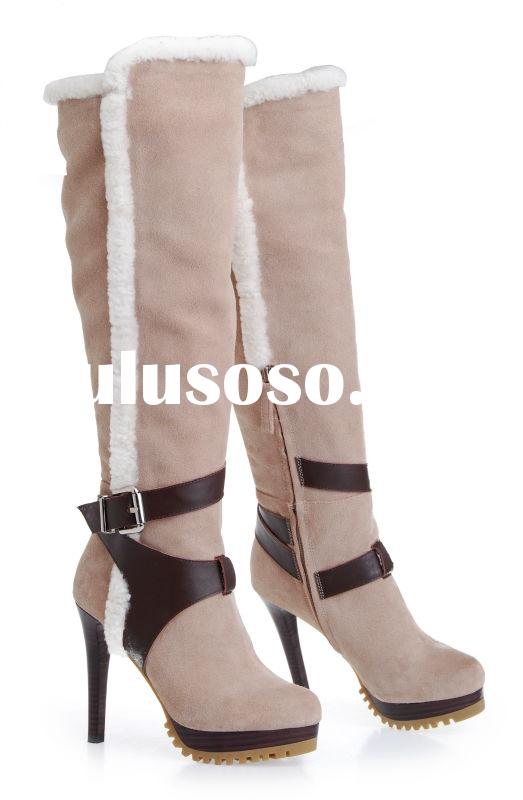 hot sale factory handmade fashin women cow suede leather knee high boots
