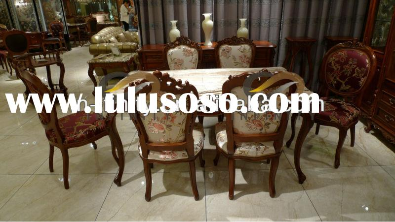 Antique Wooden Dining Room Furniture Marble Top Table Set
