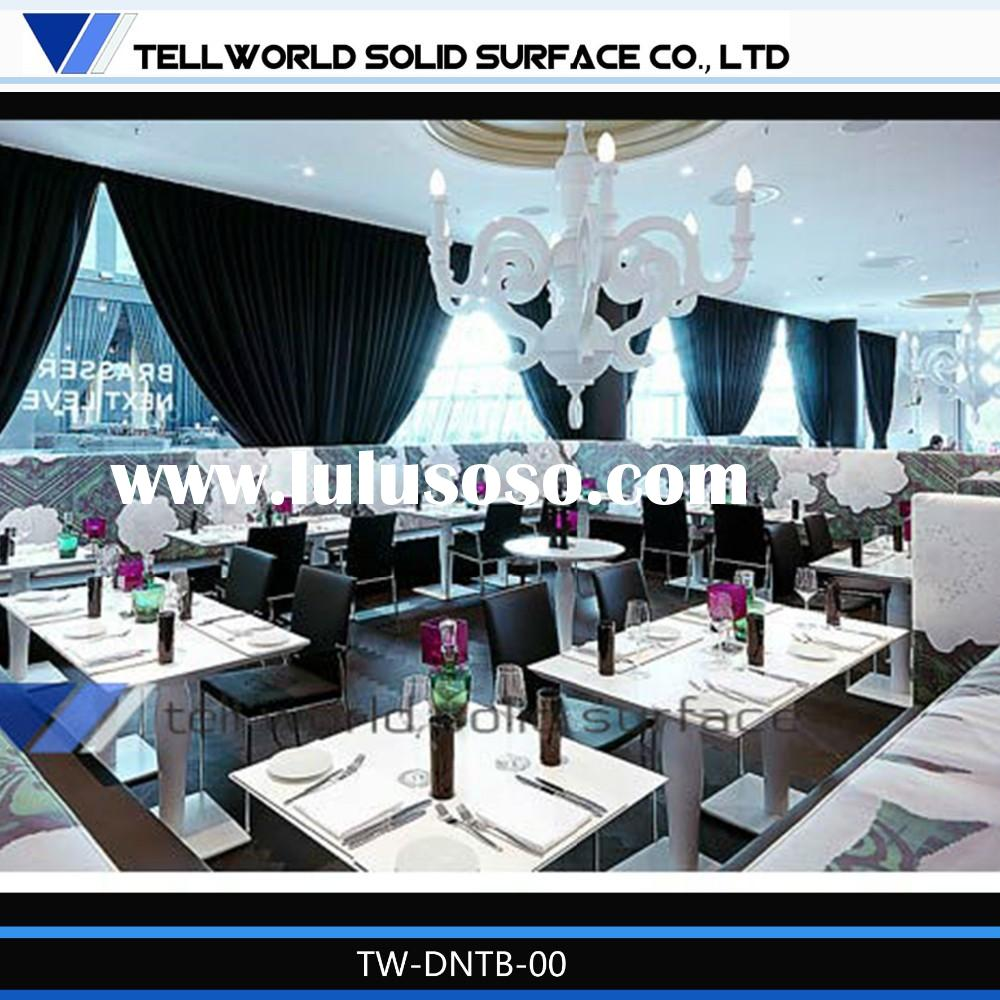 Cheap good quality restaurant faux marble top table dining room set
