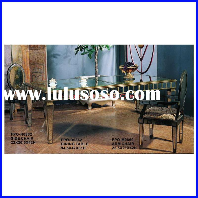Glass Wooden Marble Top Dining Room Table Set D0863#