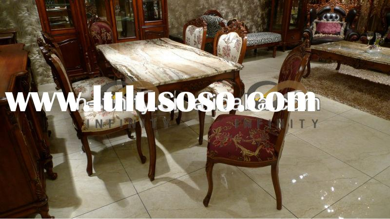 Solid Wood Marble Top Dining Room Furniture Table Set