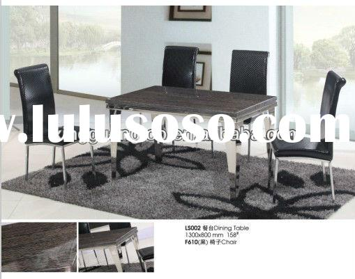 marble top dining room table set with stainless steel frame