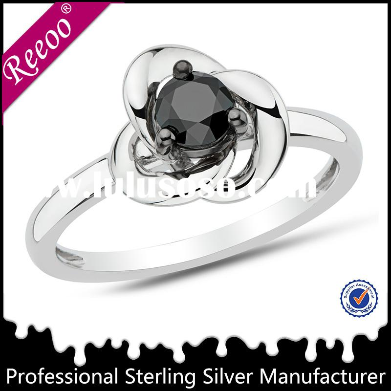 925 sterling silver cubic zirconia rings unique silver rings with black stone